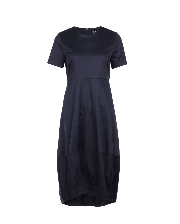 Платье баллон для беременныхПлатья<br>Темно-синее платье баллон для беременных Attesa. Модель с отрезной юбкой, круглым вырезом и короткими рукавами. Застегивается на спине на молнию. Платье выполнено из хлопковой ткани с добавлением эластана.
