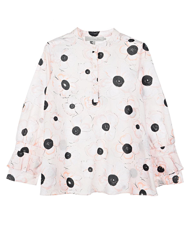 Хлопковая блузка с оборками на рукавахБлузы, Рубашки, Туники<br>Розовая блузка Dior сшита из тонкого батиста с нежным цветочным принтом. Свободная модель застегивается спереди на пуговичную планку. Длинные рукава украшены оборками.