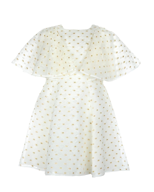 Платье в горохПлатья, Сарафаны<br>Платье Dior сшито из плотной газовой ткани с мягкой подкладкой. Приталенная модель с расклешенной юбкой украшена золотым жаккардовым узором в горошек. На спинке расположена застежка на молнию, украшенная пуговицей в форме клевера — символа дома Dior. Широкие рукава-флаттер.