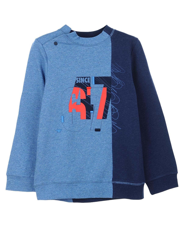 """Двухцветный свитшот из хлопка DiorТолстовки, Свитшоты<br>Двухцветный свитшот Dior изготовлен из хлопкового мольтона стретч. Модель прямого кроя с видимыми швами застегивается на плече на кнопку. Принт на груди изображает две значимых даты бренда: «67» - год основания Дома Dior, """"47"""" – год создания первой детской коллекции."""