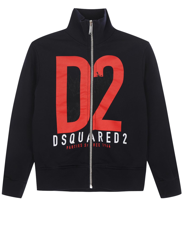 Спортивная куртка на молнии Dsquared2Спортивная одежда<br>Спортивная куртка Dsquared2 изготовлена из плотного мольтона на основе хлопка. Модель с застежкой на молнию украшена крупным принтом с логотипом. Воротник-стойка, манжеты и низ выполнены из эластичного трикотажа. По бокам расположены два прорезных кармана.