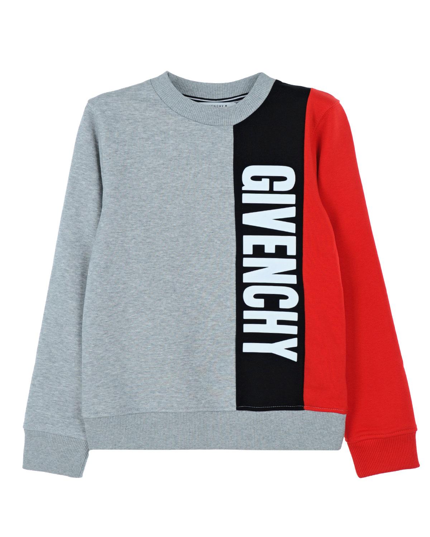 Свитшот с логотипом GivenchyТолстовки, Свитшоты<br>Серый свитшот  Givenchy с эффектом меланжа изготовлен из эластичного хлопкового джерси. Свободная модель в стиле колор-блок декорирована крупным логотипом спереди. Края изделия отделаны эластичным трикотажем в рубчик.