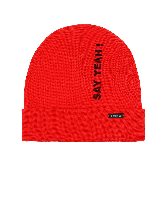 Шапка Il TreninoШапки<br>Карсная шапка с отворотом Il Trenino из хлопкового трикотажа, декорирована надписью quot;say yeah!quot;