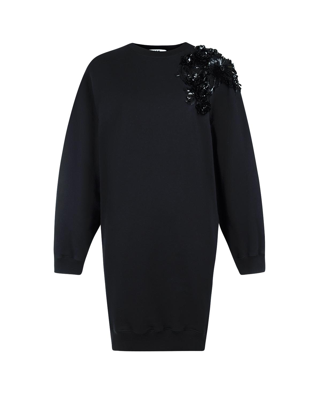 Платье-свитшот с вышивкой пайеткамиПлатья<br>Черное платье-свитшот MSGM из хлопкового трикотажа. Модель с круглым вырезом и длинными рукавами с манжетами. Платье декорировано на плече цветами, вышитыми пайетками.
