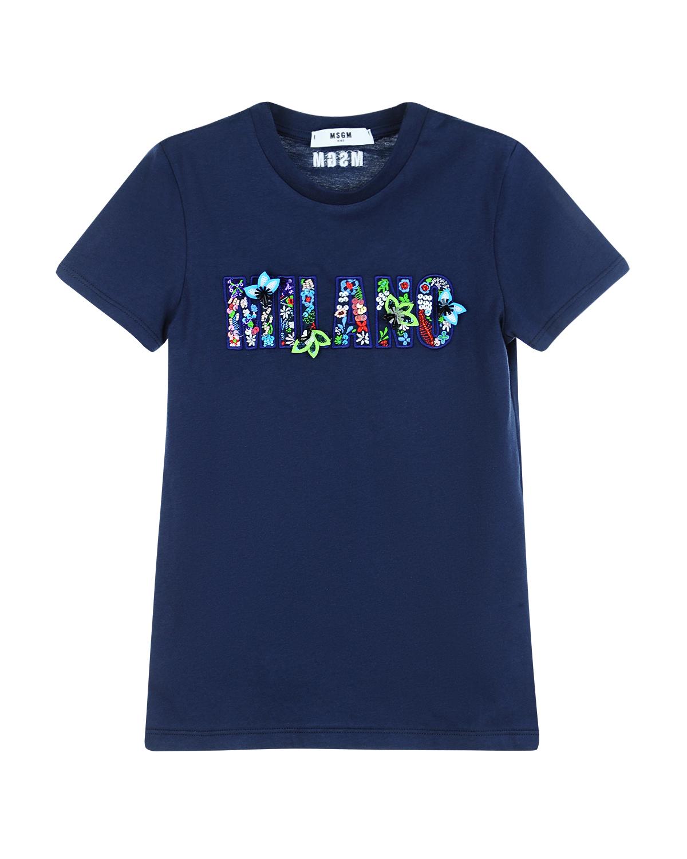 Купить со скидкой Хлопковая футболка с цветочной вышивкой и аппликациями MSGM