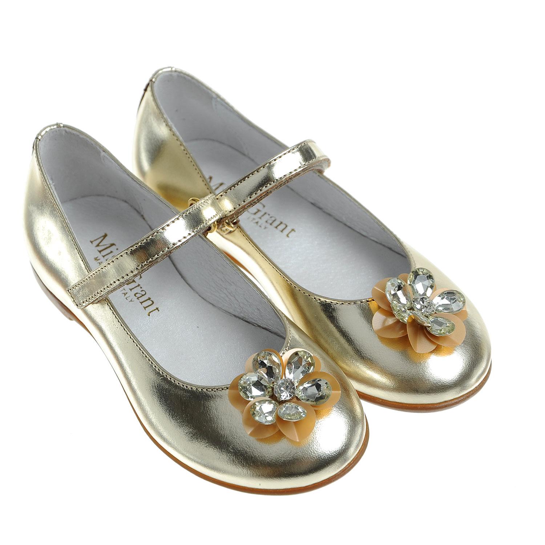 Золотистые туфли с цветокомТуфли<br><br>
