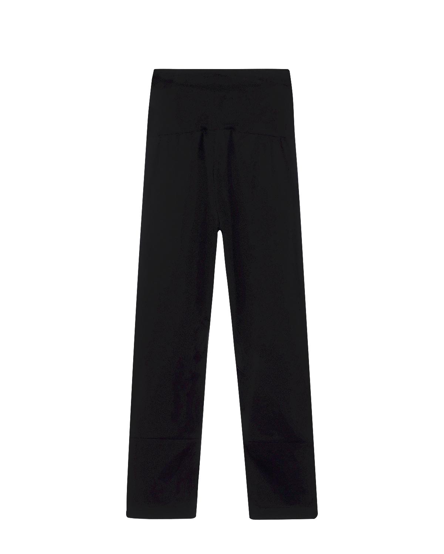 Брюки спортивные MonnalisaСпортивная одежда<br>Прямые длинные спортивные брюки MONNALISA из черного хлопкового трикотажа. Эластичный пояс на резинке обеспечивает комфортную посадку. Сзади контрастная надпись. Внизу по боковым швам отделка золотистой тесьмой.