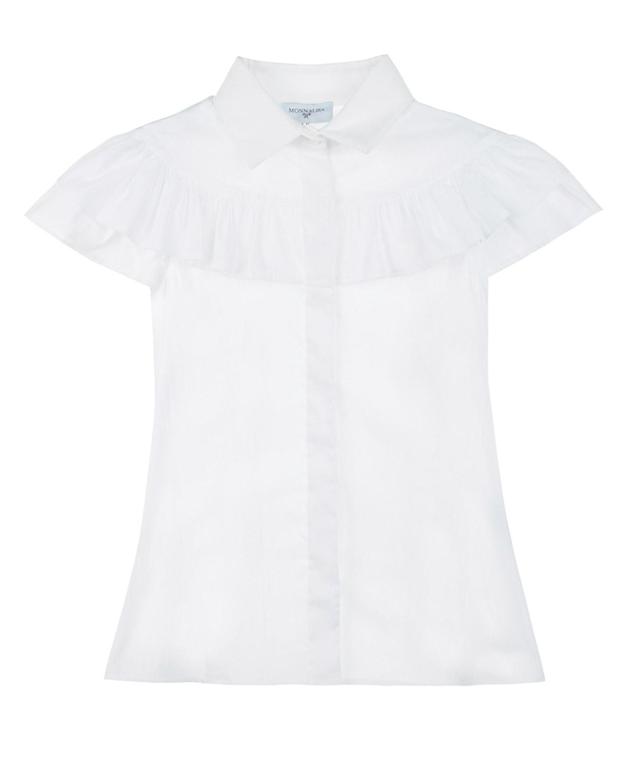 Купить со скидкой Рубашка с короткими рукавами и оборкой Monnalisa