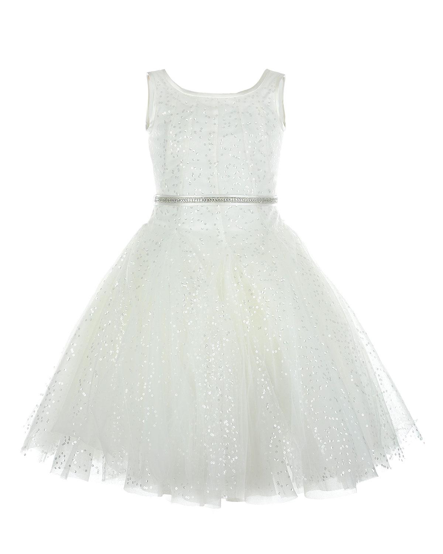 Платье с юбкой пачкой MonnalisaПлатья, Сарафаны<br>Белое платье MonnaLisa отрезное по талии. Модель без рукавов, с вырезом лодочкой и юбкой-пачкой. Платье расшито пайетками и дополнено тонким поясом со стразами и бантом сзади. Застегивается на спине на молнию.