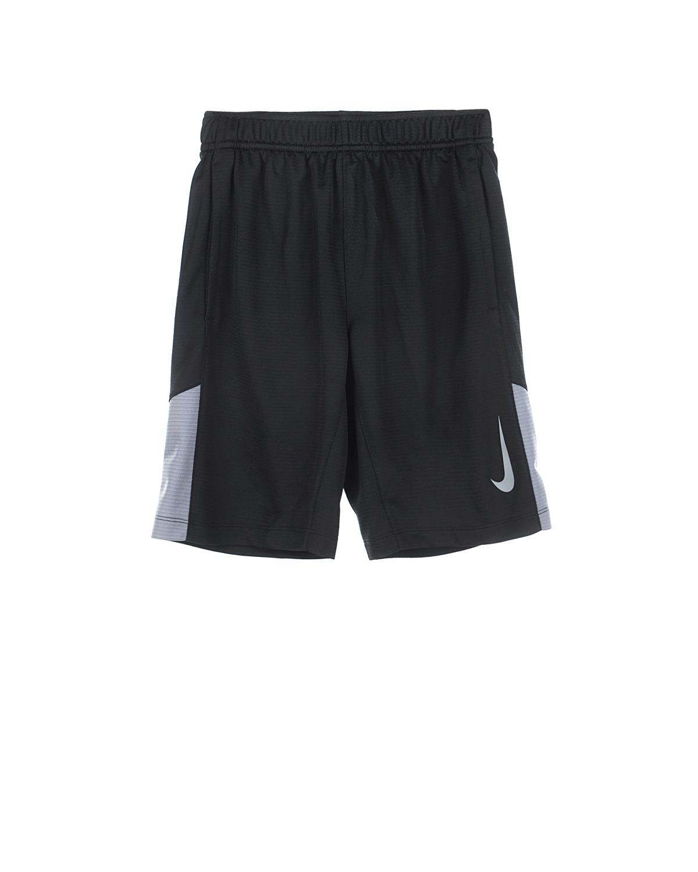 Шорты с контрастными вставками NikeШорты, Бермуды<br>Черные шорты Nike  изготовлены  из дышащей влагоотводящей ткани по специальной технологии Dri-FIT. Модель широкого комфортного кроя украшена фирменной эмблемой бренда и контрастными серыми вставками. По бокам расположены два прорезных кармана. Посадка изделия регулируется широким эластичным поясом.