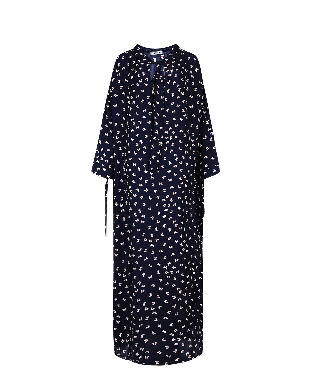 Купить со скидкой Платье из шелка с воротником аскот