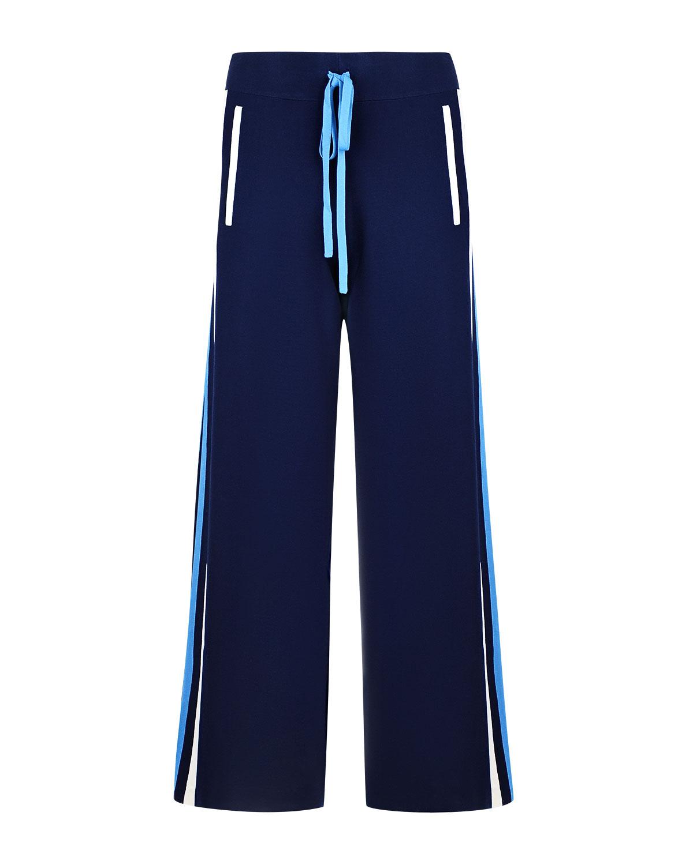 Брюки с лампасамиБрюки<br>Темно-синие брюки Parosh прекрасно подходят для создания образа в стиле sport chic. Свободная модель украшена по бокам лампасами. Прорезные карманы спереди декорированы кантом. Эластичный пояс-кулиска гарантирует идеальную посадку по фигуре.