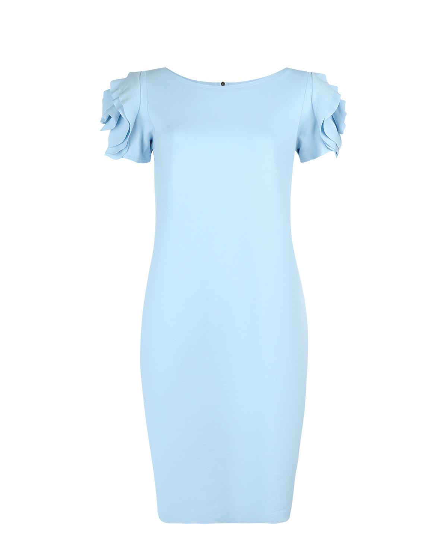 Платье для беременных с короткими рукавамиПлатья<br>Голубое платье для беременных Pietro Brunelli. Модель средней длины, с круглым вырезом и короткими рукавами. Платье декорировано объемными крупными розами на рукавах. Застегивается на спине на потайную молнию.