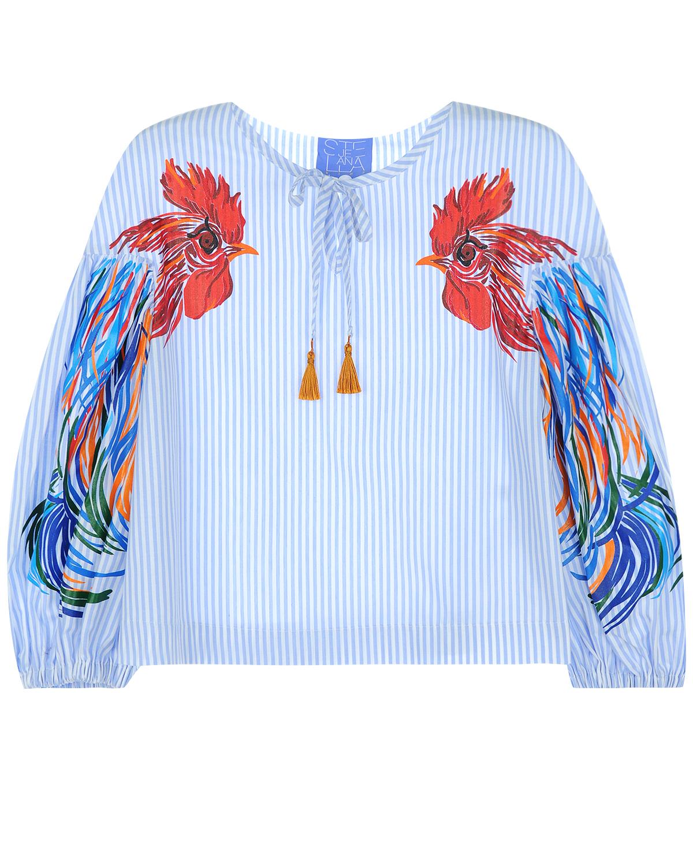 Блуза с длинными декорированным рукавамиБлузы, Рубашки, Туники<br>Свободная блуза  Stella Jean выполнена из гладкого хлопкового поплина в полоску. Широкое рукава-буфы украшены красочной вышивкой с петухами. «Тунисский» воротник дополнен узкой тесьмой с кисточками на концах. Манжеты присборены на резинку.