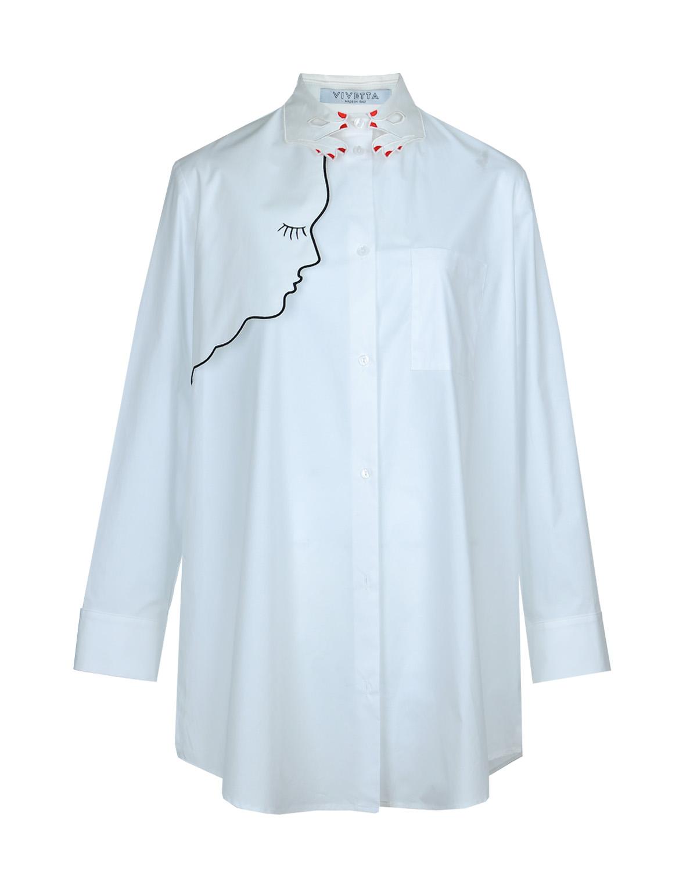 Блузон с вышивками VivettaБлузы, Рубашки<br>Белый блузон Vivetta из хлопковой ткани. Модель с отложным воротником, длинными рукавами с манжетами и одним нагрудным карманом. Застегивается на пуговицы. Воротник выполнен в виде двух рук, декорирован вышивкой. Также блузон украшен вышитым контуром профиля девушки