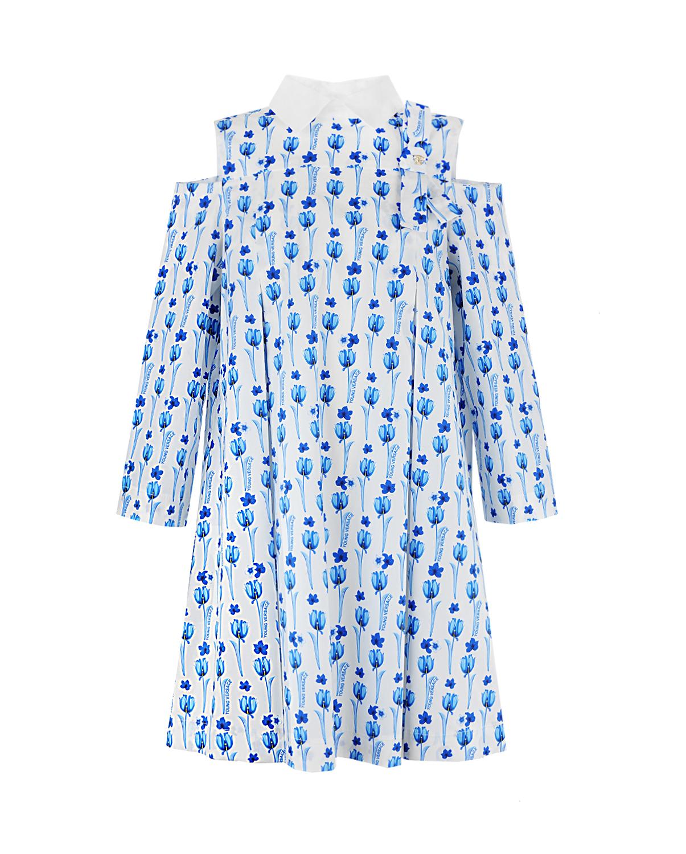 платье с цветочным принтомПлатья, Сарафаны<br>Платье Young Versace с оригинальным кроем: открытые плечи, широкие рукава, воротник под горло с застежкой на пуговицу сзади. Сплошной цветочный принт. Модель дополнена декоративным бантом с брошью в виде головыМедузыГоргоны - фирменной эмблемы бренда.
