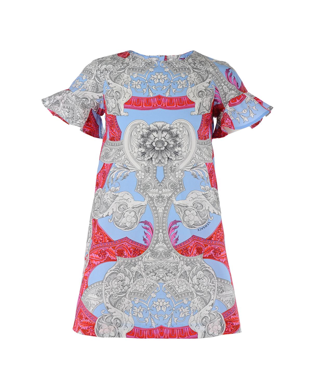 Платье с короткими рукавами Young VersaceПлатья, Сарафаны<br>Хлопковое платье Young Versace. Модель с круглым вырезом и короткими рукавами с воланами. Платье застегивается на спине на потайную молнию, декорировано красно-голубым принтом с узорами.
