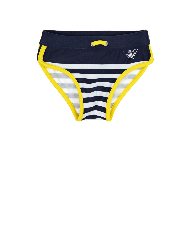 Плавки в сине-белую полоскуОдежда для пляжа<br>Плавки Armani из быстросохнущей ткани в сине-белую полоску с желтой окантовкой. Пояс на резинке со шнурком.