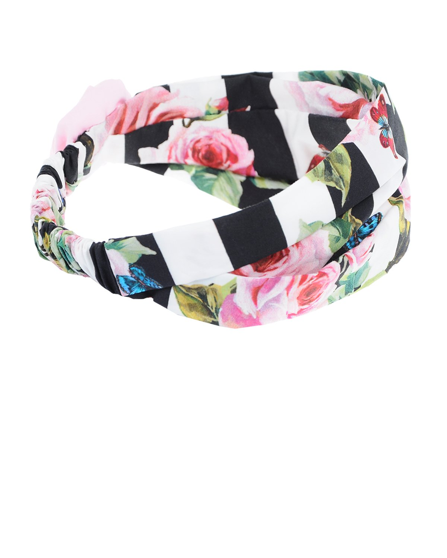 Бандана с цветочным принтом и аппликацией Dolce&GabbanaБанданы<br>Бандана для волос DolceGabbana изготовлена из мягкого хлопкового поплина в черно-белую полоску. Модель украшена дизайнерским цветочным принтом и аппликацией с розой. Сзади расположена эластичная резинка для удобной фиксации.