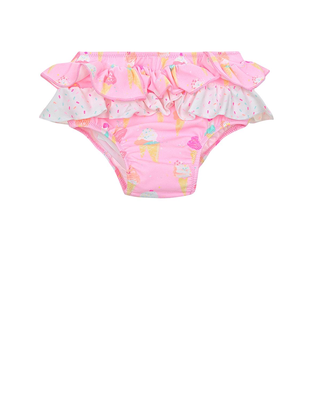 Плавки с рюшами SUNUVAОдежда для пляжа<br>Розовые плавки SUNUVA из быстросохнущей ткани. Модель декорирована рюшами и принтом с изображением мороженого.