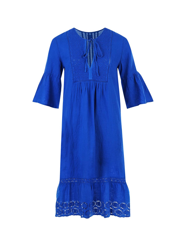 Платье-миди с воланами 120% Lino фото