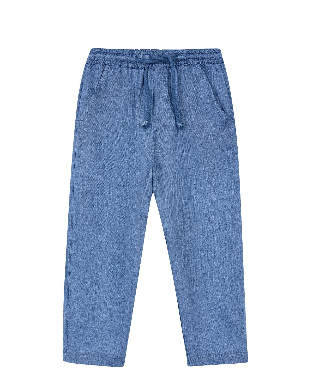 Купить Льняные брюки с карманами Arc-en-ciel детские, Голубой, 100%лен