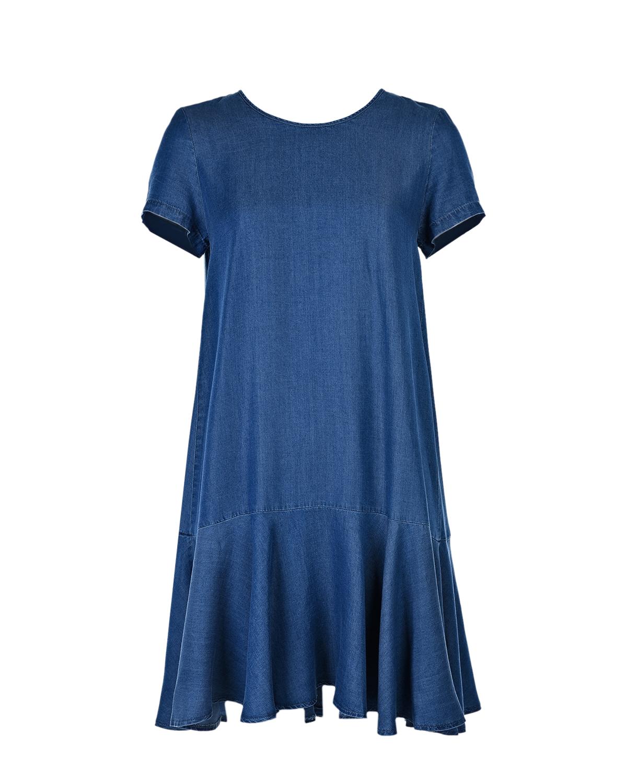 Платье для беременных с короткими рукавами Attesa голубого цвета