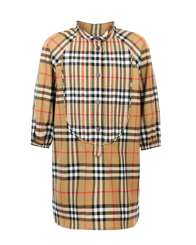 Купить Платье-рубашка в клетку Vintage Check Burberry, Бежевый, 100%хлопок