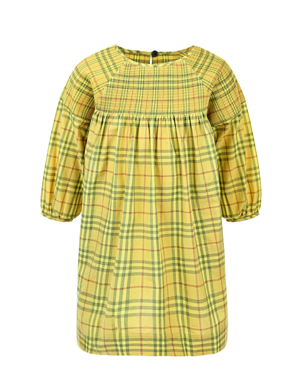 Купить Платье в клетку Burberry детское, Желтый, 100%хлопок