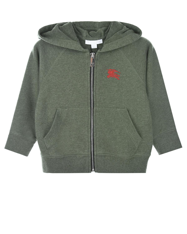 Купить Спортивная куртка с капюшоном Burberry детская, Хаки, 100%хлопок