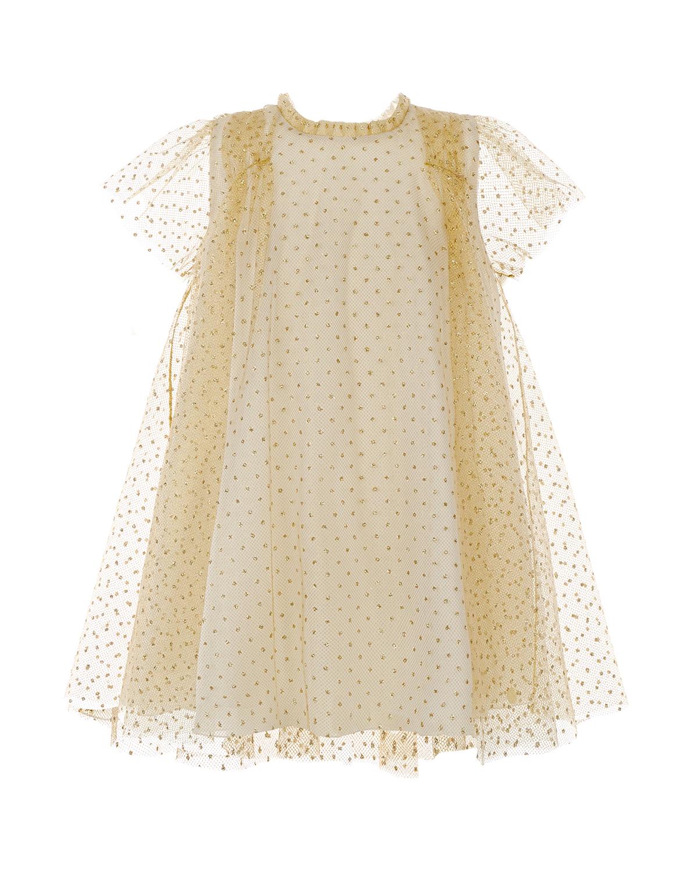 Купить Многослойное платье А-силуэта Dior детское, Кремовый, 75%полиамид+25%полиэстер, 100%полиэстер, 100%хлопок