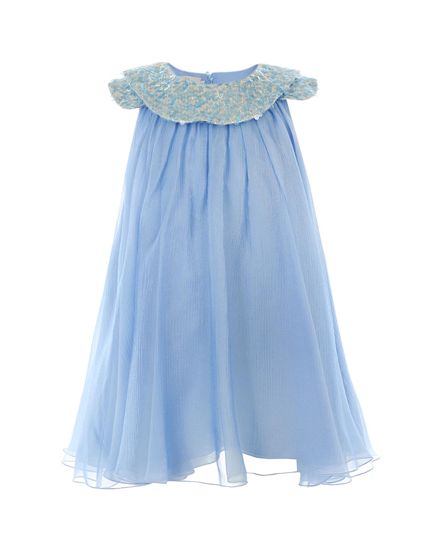 Купить Платье с декором из пайеток Dior детское, Голубой, 75%шелк+25%полиамид