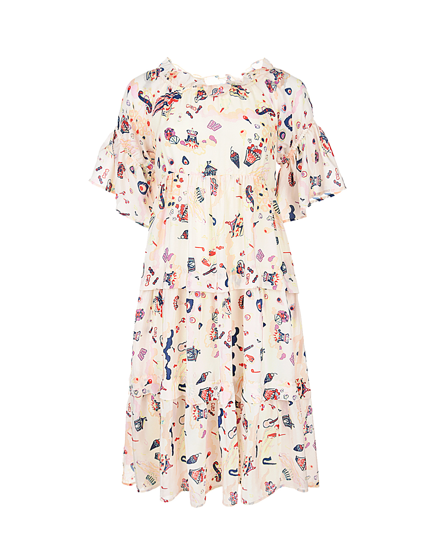 Купить Платье с многоярусной юбкой Dan Maralex, Нет цвета, 100%шелк. 65%вискоза+35%полиэстер