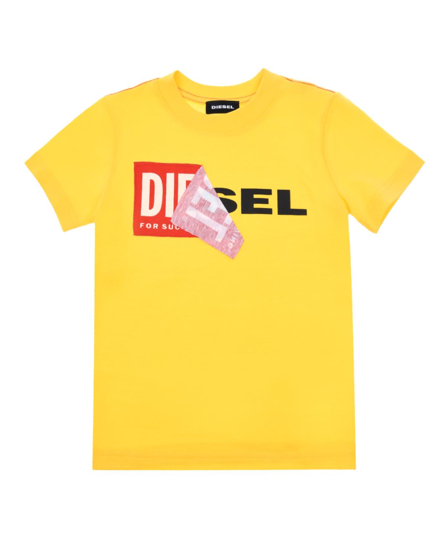 Футболка из хлопка с логотипом Diesel  - купить со скидкой