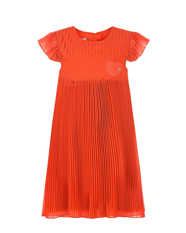 Купить Красное плиссированное платье Dior детское, Красный, 100%полиэстер