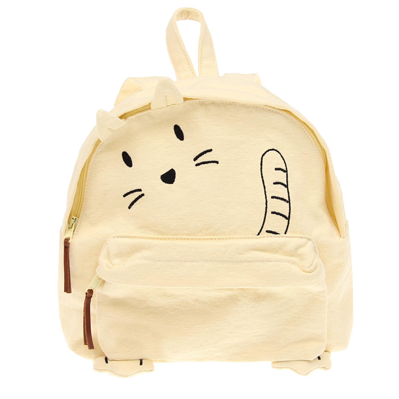 Купить Рюкзак с принтом кошка , 24x28.5x8.5 см Emile et Ida детский, Желтый, 100%хлопок