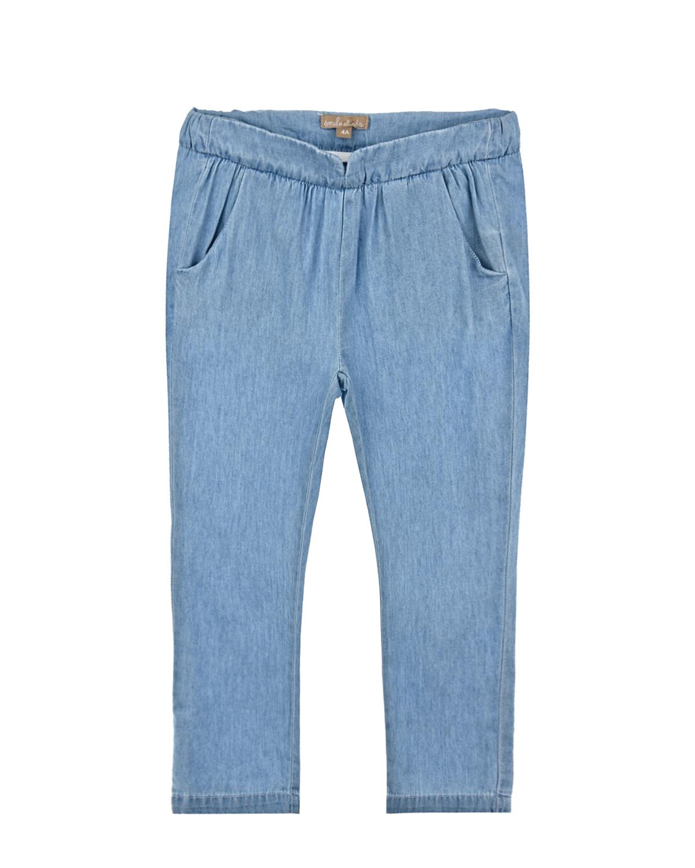 Купить Джинсовые брюки с поясом на резинке Emile et Ida детские, Голубой, 100%хлопок