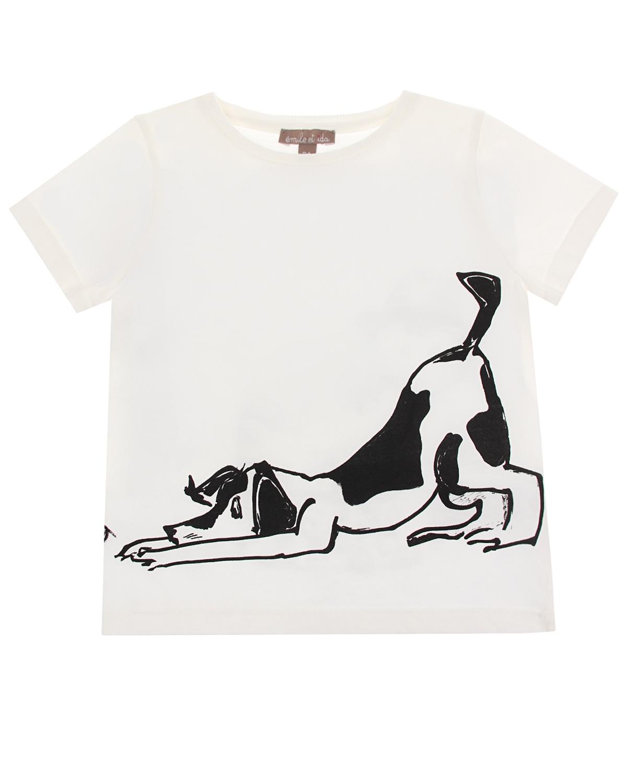 """Белая футболка с принтом """"собака и кошка"""" Emile et Ida детская фото"""