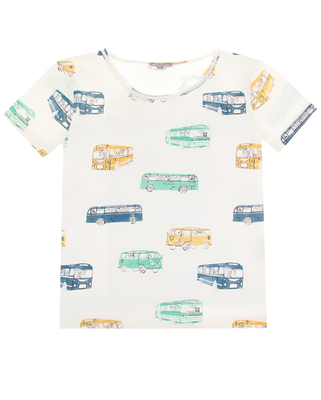 """Белая футболка с принтом """"автобусы"""" Emile et Ida детская фото"""