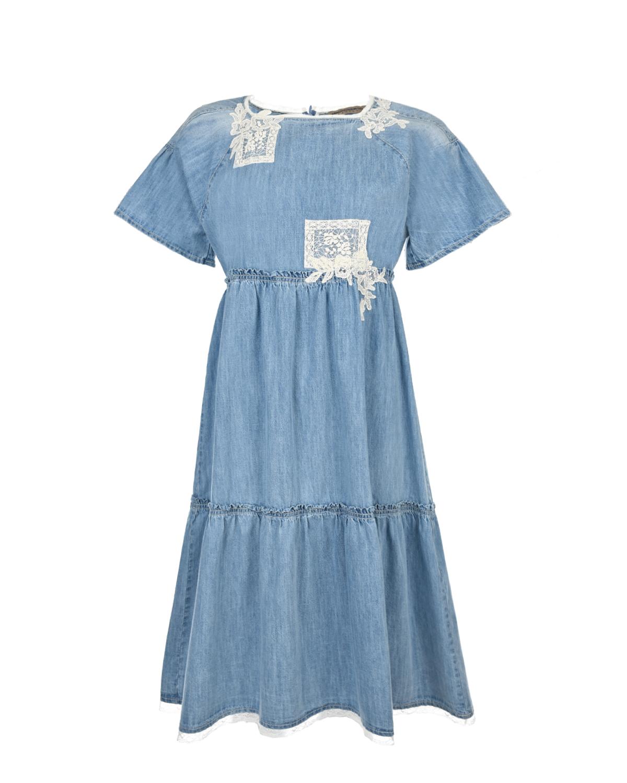 Купить Джинсовое платье с кружевными аппликациями Ermanno Scervino детское, Голубой, 100%хлопок, 100%полиамид, 92%хлопок+8%полиамид, 77%хлопок+17%полиамид+6%полиэстер