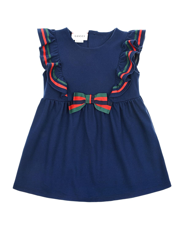Купить Платье GUCCI детское, Синий, 96%хлопок+4%эластан, 65%вискоза+35%хлопок, 50%вискоза+50%хлопок