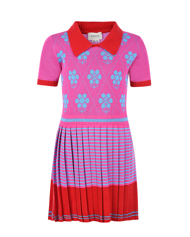Купить Платье GUCCI детское, Мультиколор, 70%вискоза+30%хлопок, 80%вискоза+20%металлизированное волокно