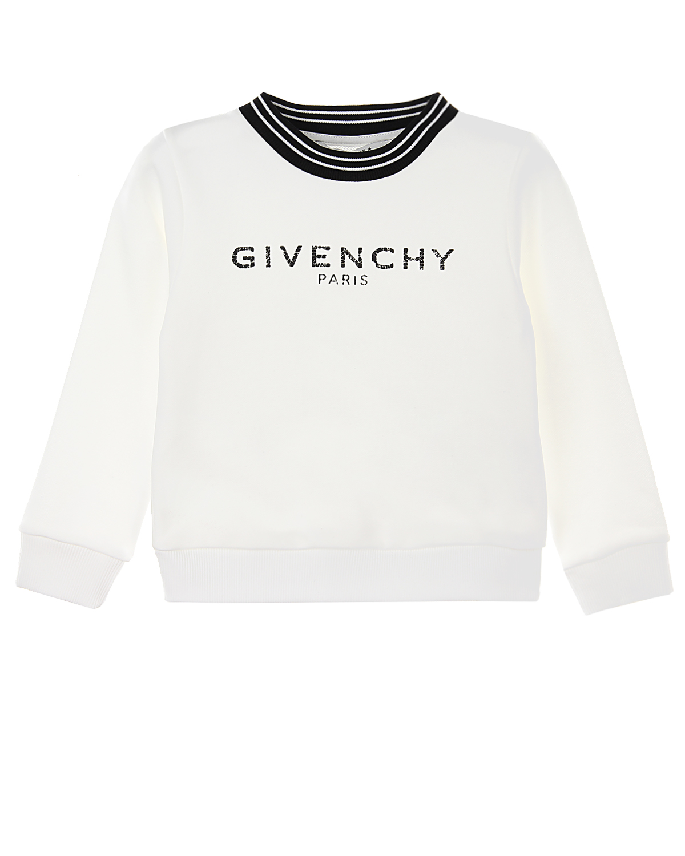 Купить Свитшот с контрастной отделкой выреза Givenchy детский, Белый, 2%эластан+98%хлопок, 14%полиэстер+86%хлопок