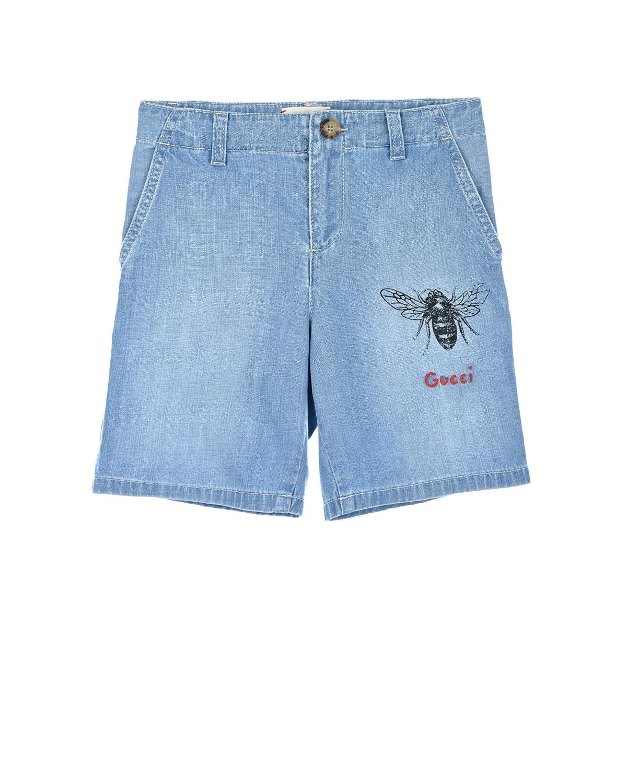Купить Джинсовые шорты GUCCI детские, Голубой, 99%хлопок+1%эластан, 100%полиэстер