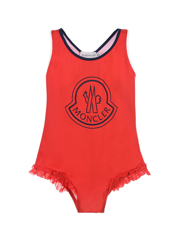 Купить Слитный купальник с логотипом Moncler детский, Красный, 80%полиамид+20%эластан, 82%полиамид+18%эластан, 85%полиамид+15%эластан
