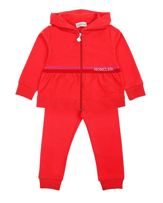 Купить Спортивный костюм с логотипом Moncler детский, Красный, 92%хлопок+8%эластан, 100%хлопок