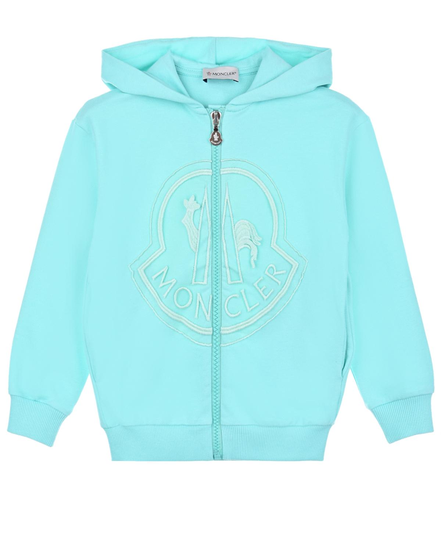 Купить Спортивная куртка с логотипом Moncler детская, Зеленый, 92%хлопок+8%эластан, 100%хлопок, 78%хлопок+14%полиэстер+8%полиамид