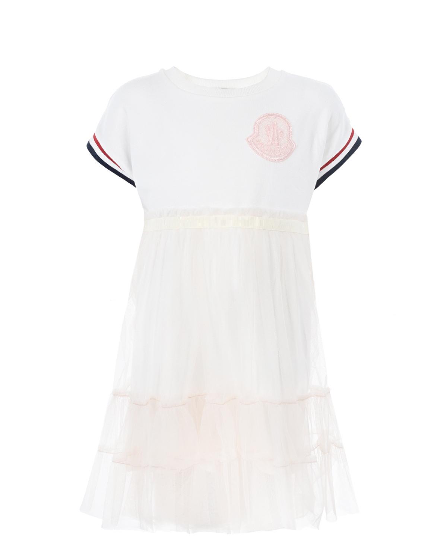 Купить Платье с логотипом Moncler детское, Белый, 92%хлопок+8%эластан, 100%полиамид