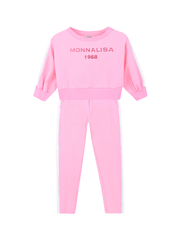 Купить Спортивный костюм из свитшота и брюк Monnalisa детский, Розовый, 73%хлопок+22%полиэстер+5%эластан