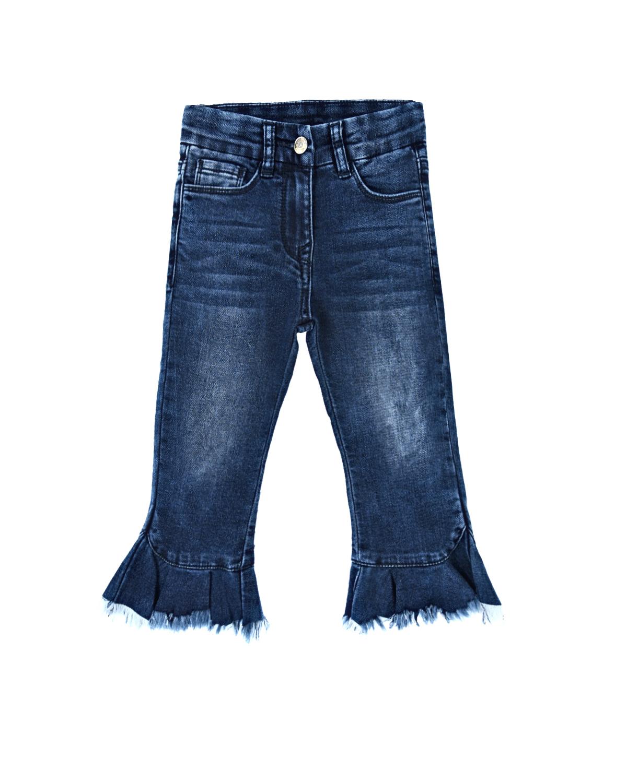 Купить Джинсы с вышивкой пайтками Monnalisa детские, Синий, 89%хлопок+10%полиэстер+1%эластан, 100%хлопок